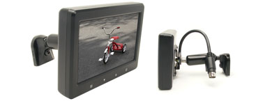 Rostra 250-8118 4.3-inch TFT LCD monitor with four video inputs, touch controls, and windshield mount