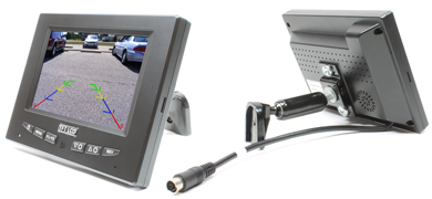 Rostra 250-8213 5-inch TFT LCD monitor with dual video inputs and dashboard pedestal mount